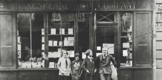 Hemingway with Sylvia Beach at the original Shakespeare & Co.